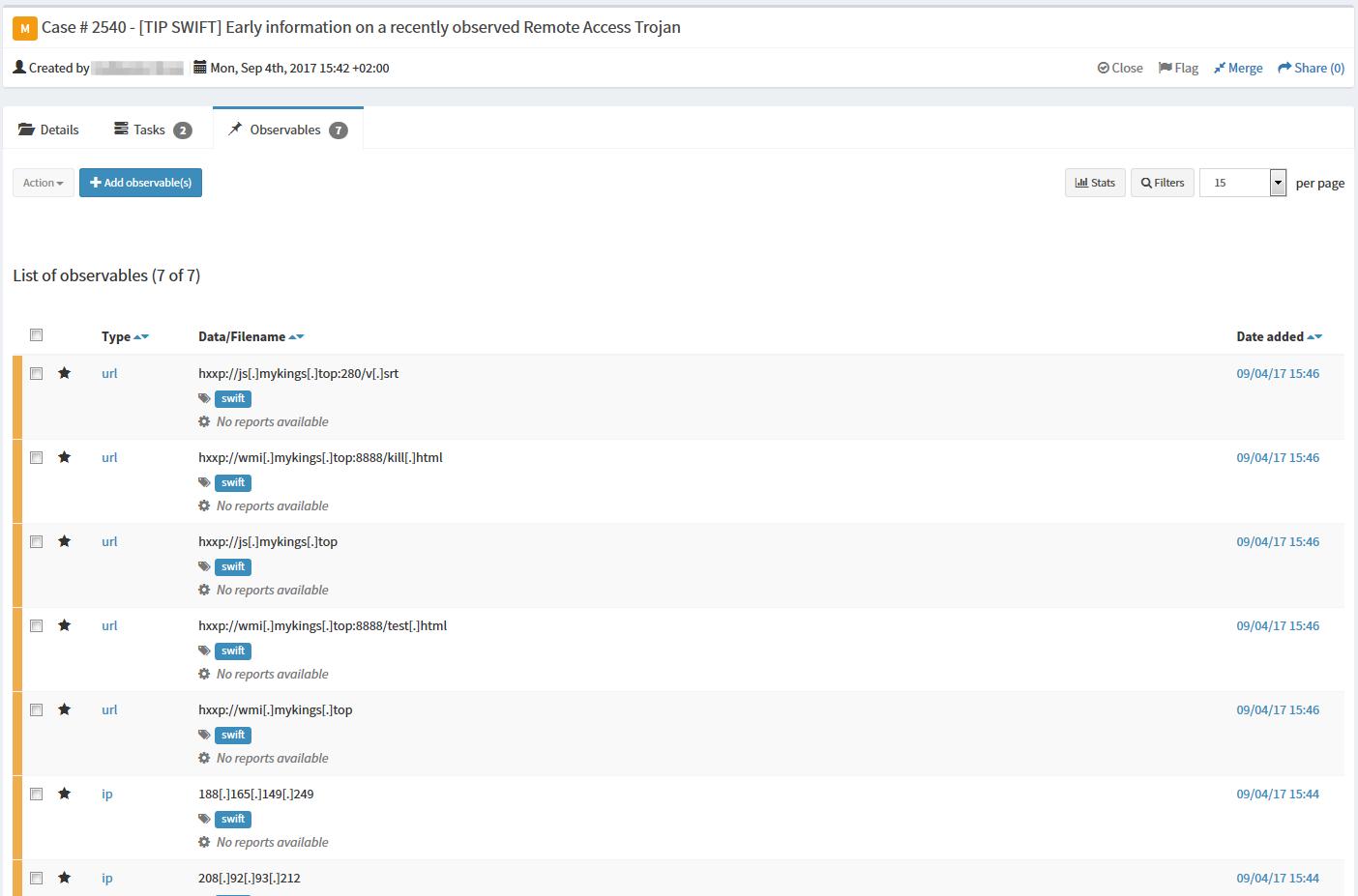 Mellifera 13: Export to MISP, Webhooks, API Keys & ES 5 – TheHive