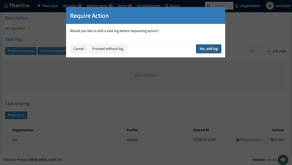 3 require action modal